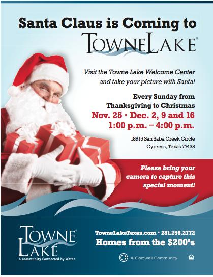 Santa Clause at Towne Lake, Morning Star homes of Houston