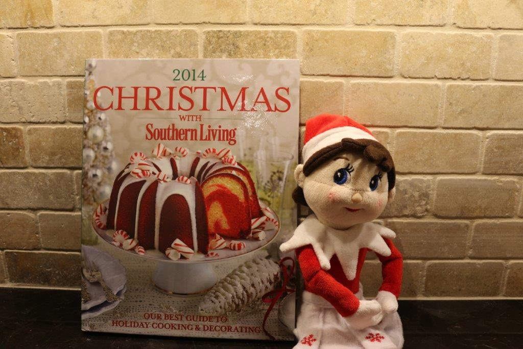 Elf on the Shelf with Southern Living Holiday Cookbook