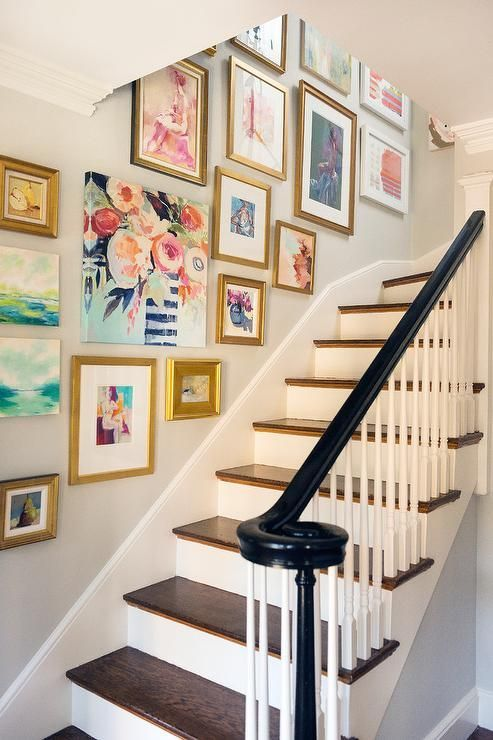 staircase photo wall